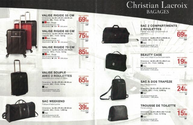 offre vignettes bagages sac christian lacroix carrefour 2017. Black Bedroom Furniture Sets. Home Design Ideas