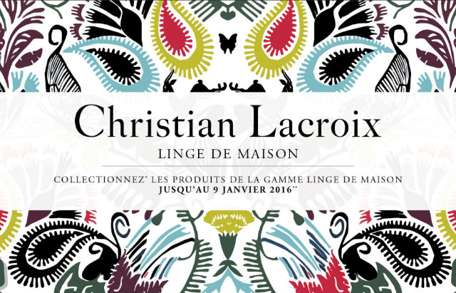op ration vignettes collecteur christian lacroix textile carrefour. Black Bedroom Furniture Sets. Home Design Ideas