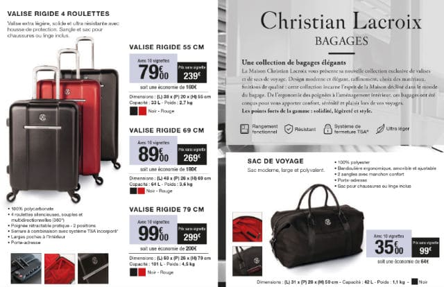 offre vignettes bagages christian lacroix carrefour market 2016. Black Bedroom Furniture Sets. Home Design Ideas