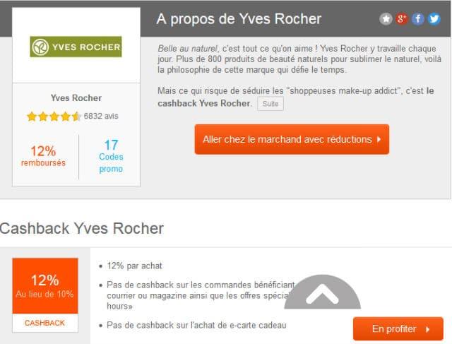 Cashback Yves Rocher Igraal