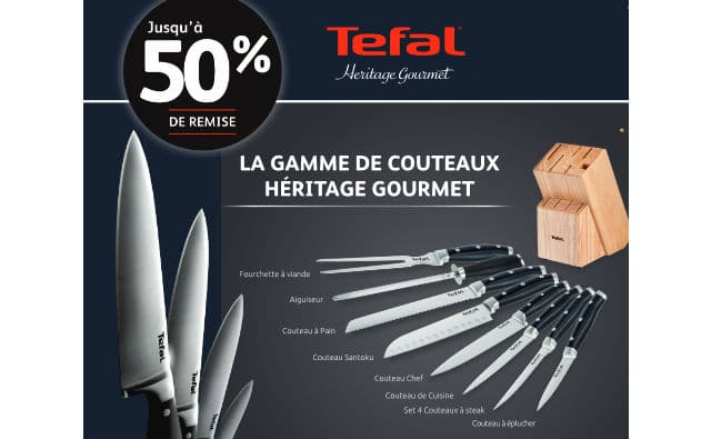 op ration vignettes couteaux de cuisine tefal cora 50 de r duction. Black Bedroom Furniture Sets. Home Design Ideas