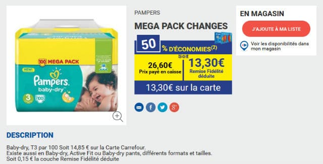 Pack de 100 couches pampers 11 30 au lieu de 26 60 - Reduction couches pampers a imprimer ...