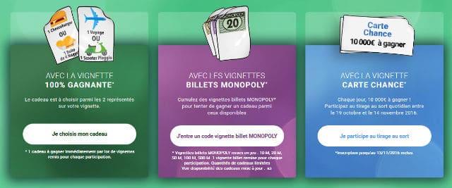Cadeaux jeu Monopoly Mc Donald's 2016