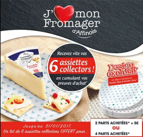 Fromager d'Affinois = 6 assiettes à fromage gratuites