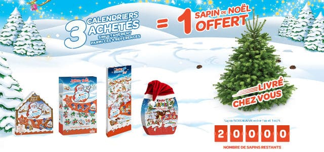 Calendriers Avent Chocolats Kinder Sapin de Noël offert