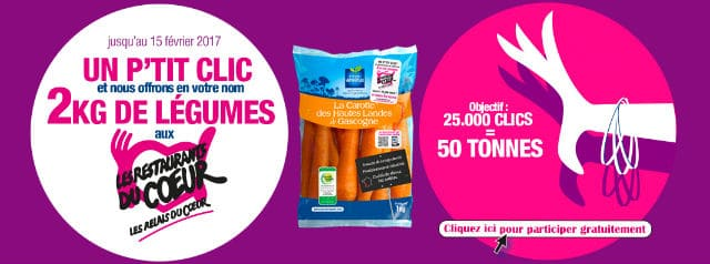 Clic carottes gratuites Restos du Coeur