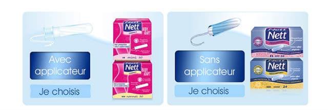 Echantillons gratuits tampons Nett