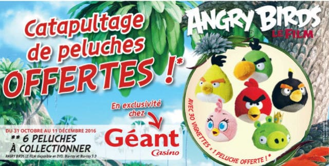 Peluches Angry Birds Géant Casino 2016