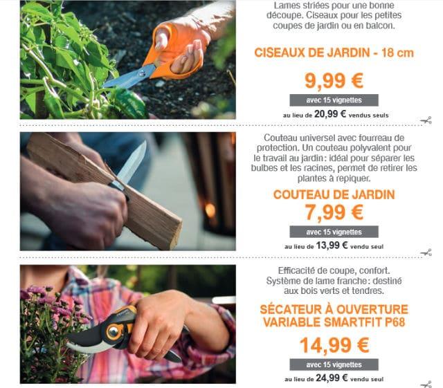 Ciseaux, couteau, sécateur Fiskars Auchan 2017
