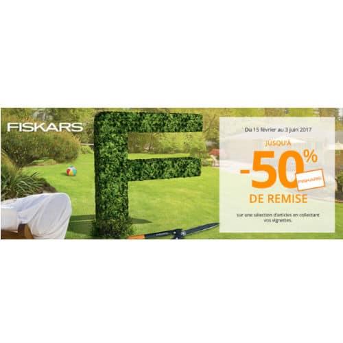 Vignettes outils de jardin Fiskars Auchan -50%