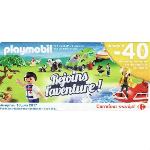 Vignettes jouets Playmobil -40% Carrefour Market