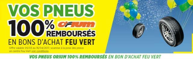 Pneus Orium gratuits Feu Vert